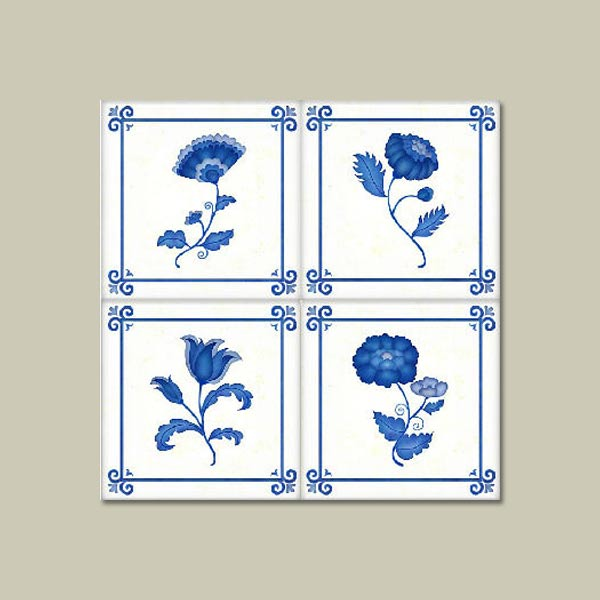 tile decal in floral pattern