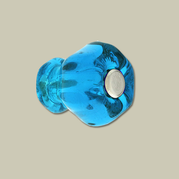 decorative blue hexagonal class drawer knob