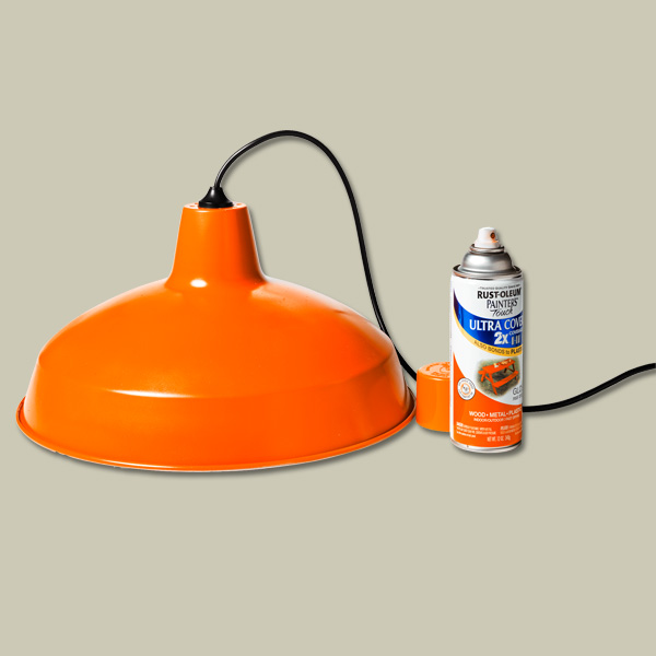 stock steel industrial pendant light spray painted orange