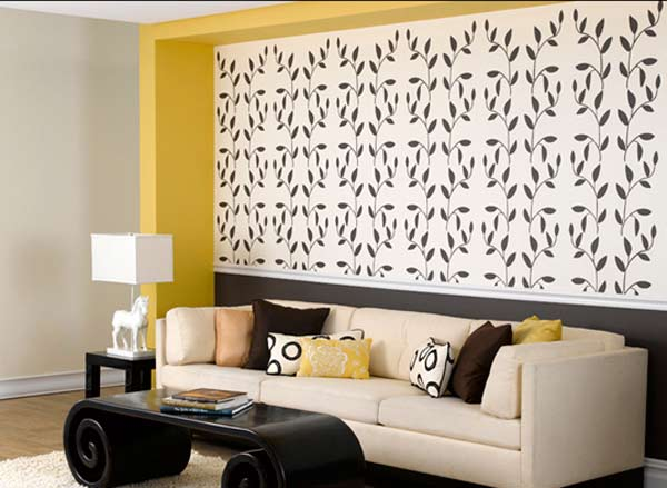 paint stencil for wallpaper effect in living room