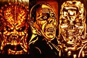 pumpkin carvings of monsters and villains