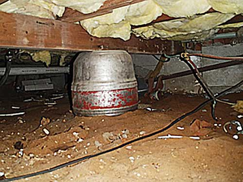Guinness kegs fused as girder support in the this old house Home Inspection Nightmares XXVIII gallery