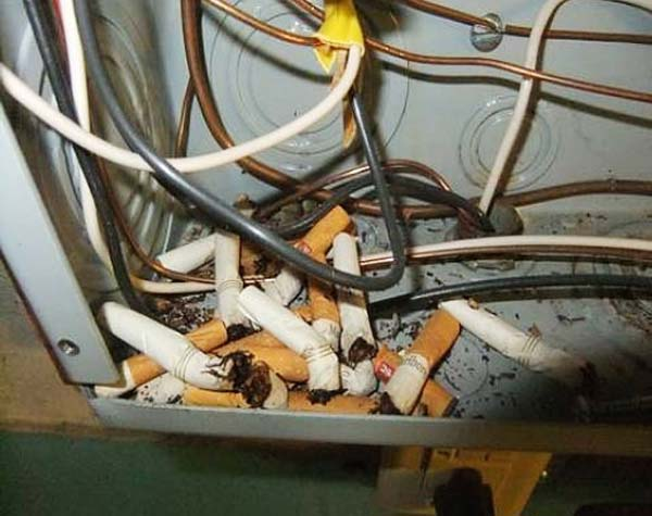 cigarette butts hidden in an electrical panel in the this old house Home Inspection Nightmares XXVIII gallery