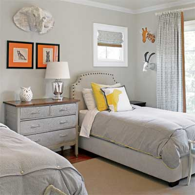 the guest bedroom in this remodeled, light-filled colonial home