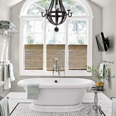 the master bath in this remodeled, light-filled colonial home