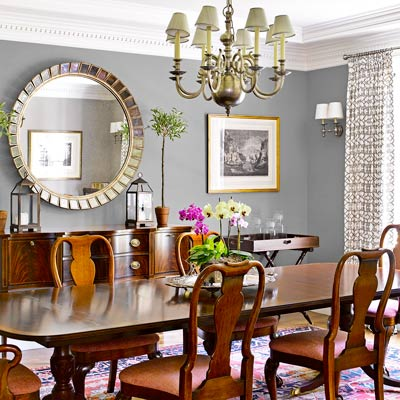 Updated traditional a light filled and detail rich for Dining room grey walls