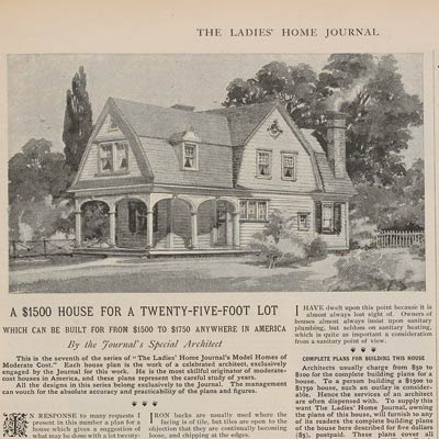 1898 Ladies' Home Journal ad for Dutch Colonial houseplans