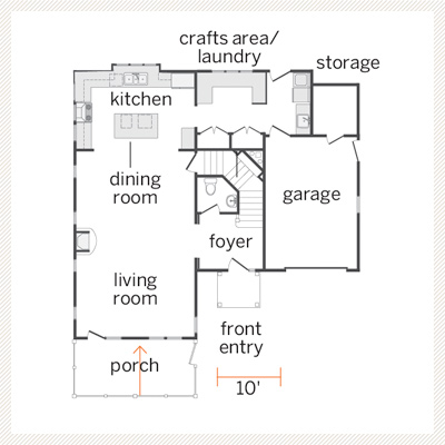 floor plan of Dutch Colonial first floor