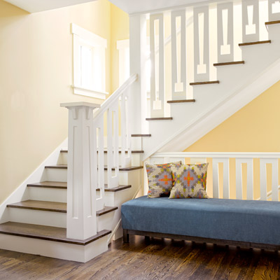 1918 craftsman bungalow after remodel relocated staircase with Craftsman-inspired balusters