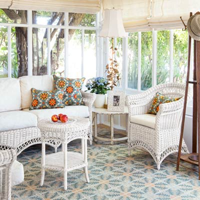 bungalow house sunroom with reclaimed tile from France