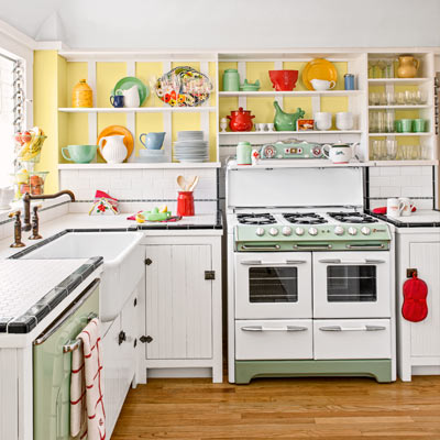 bungalow house kitchen with 1950s O'Keefe [AMP] Merritt stove, salvaged-beadboard doors