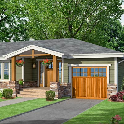 a Craftsman-style Photoshop redo focuses on a front gable