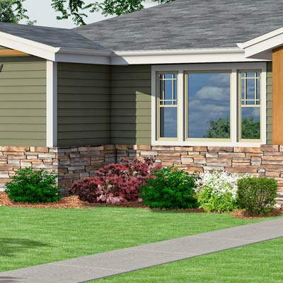 a Craftsman-style Photoshop redo focuses on the foundation plantings