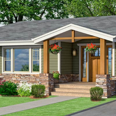 a Craftsman-style Photoshop redo focuses on the front entry