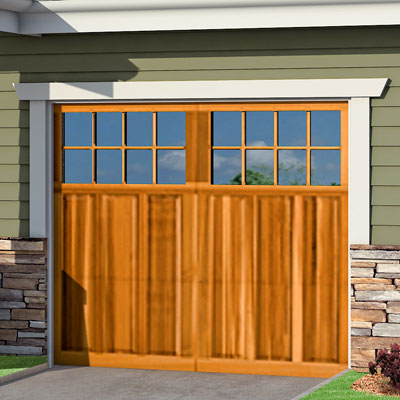 a Craftsman-style Photoshop redo focuses on the garage door