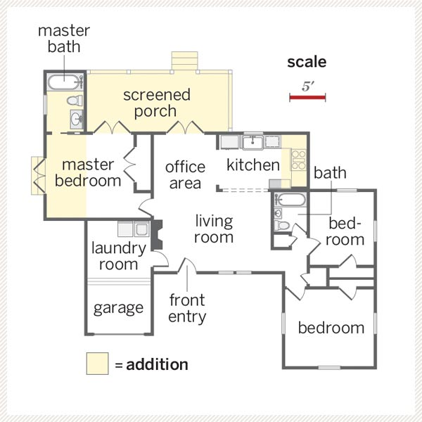floor plan of cottage whole house remodel