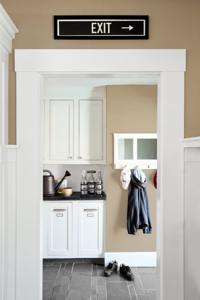 mudroom of remodeled Craftsman with custom cabinetry