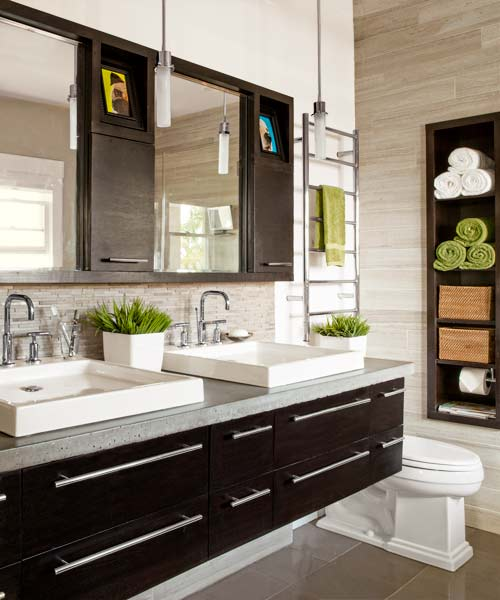 master bath of remodeled Craftsman with limestone tile walls and quartzite tile floors