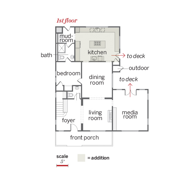 first floor plan of remodeled Craftsman with addition