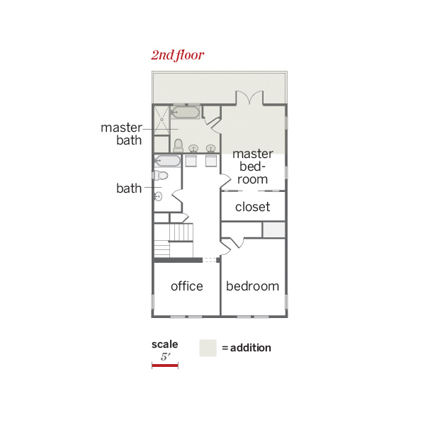 Second floor plan of remodeled Craftsman with addition