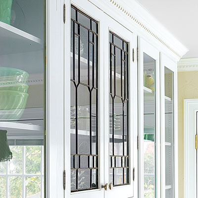 leaded glass in custom cabinets