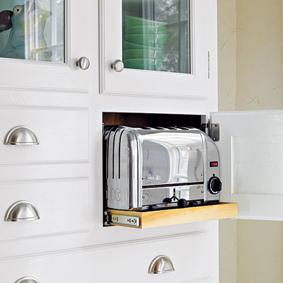Toaster cubby in cabinet with rollout shelf