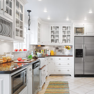 White kitchen with DIY custom cabinets