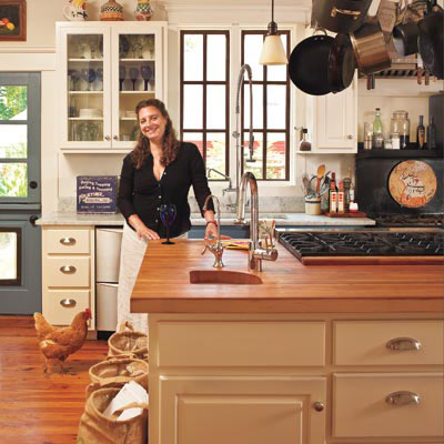 butcher block island cottage-style kitchen after remodel