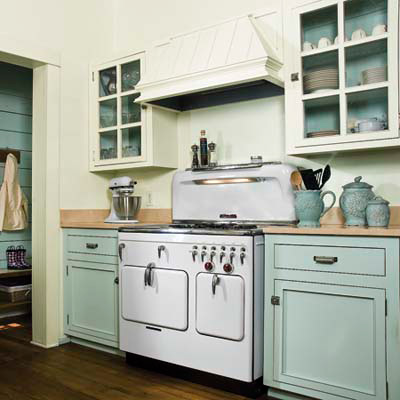 light blue cottage-style vintage charm kitchen