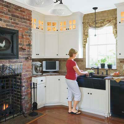 exposed brick cottage-style kitchen