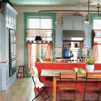 colorful cottage-style kitchen with antiques rustic furniture