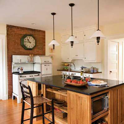 open shelf reclaimed wood panel cottage-style kitchen