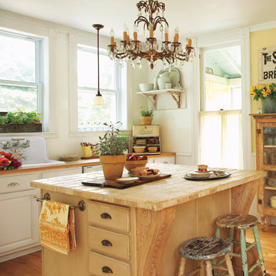 antiques modern cottage-style kitchen