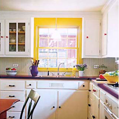 purple and yellow kitchen