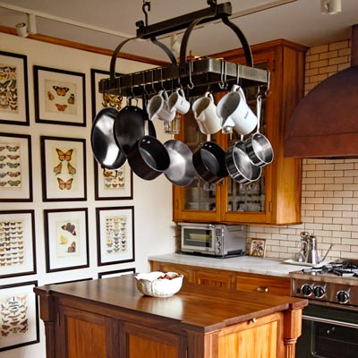 vintage style kitchen remodel with island, pro-style range and vent hood