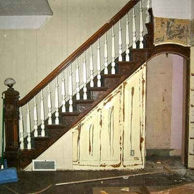 reader remodel built-in staircase project before