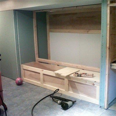 reader remodel built-in basement project before