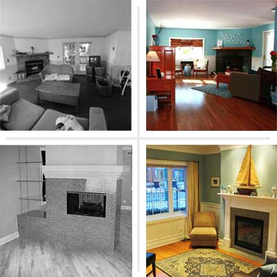 composite of pictures of Best Living Spaces Before and Afters 2012