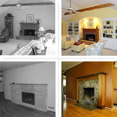 2 fireplace befores and 2 afters