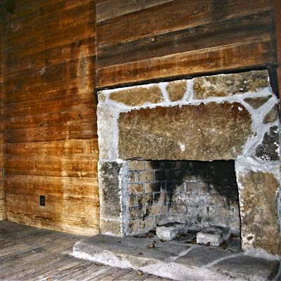 original kitchen fireplace of a Georgia farmhouse built in the 1840s
