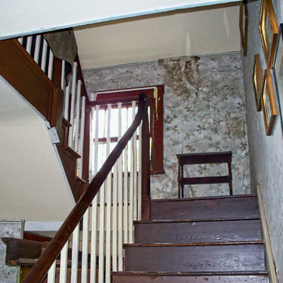 staircase off center hall in save this old house lexington, missouri greek revival 