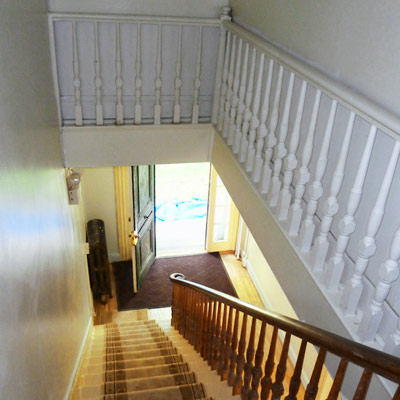 save this old house april 2012 calais, maine, original staircase with eastern-white-pine treads, walnut balustrades