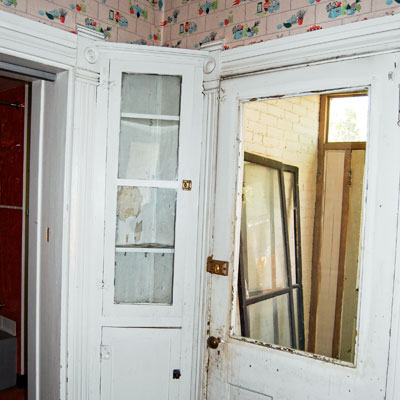 Save This Old House Anaconda, Montana kitchen with built-in hutch