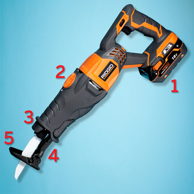 a Ridgid cordless reciprocating saw with call-out numbers