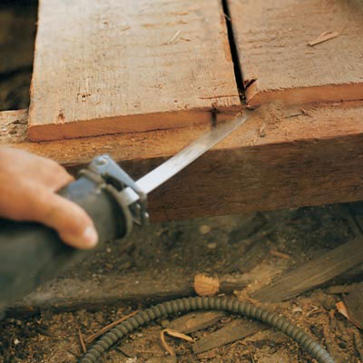 an example of a flush cut with a reciprocating saw
