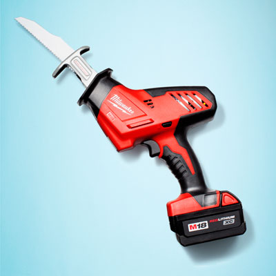 a Milwaukee cordless one-handed reciprocating saw