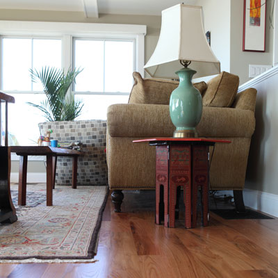living room with four-inch strip red oak hardwood flooring