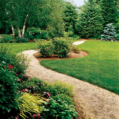 backyard path with flowering shrubs, annuals, perennials and ornamental trees