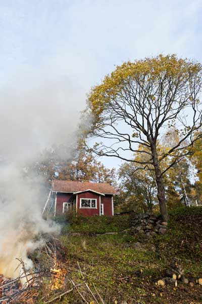 lawn on fire