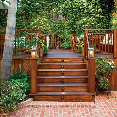 wood deck with steps to backyard patio
